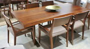 84 L Dining Table Acacia Wood Joined Planks Slabs Brown Steel Legs Exquisite