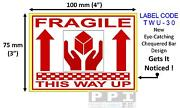 Red Fragile Hands This Way Up Packaging Roll Labels Stickers 100x75mm 4x3 Twu-30