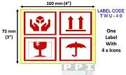 4 Icon This Way Up Fragile Glass Keep Dry Roll Labels Stickers 100x75mm Twu-40