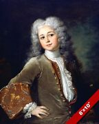 1700's Portrait Of French Youth In Wig Painting Art Real Canvas Print