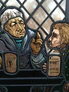 Old Stained Glass Window Men Drinking At A Pub With Accidental Glass Accents