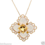 Lace Citrine And Diamond Pendant Necklace In18k Yellow Gold - Hm1583se