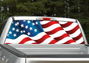 American Flag Waving 3 Rear Window Decal Graphic For Truck Suv