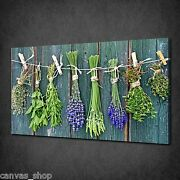 Dry Herbs Flowers Hanging Kitchen Wall Art Canvas Print Picture Ready To Hang