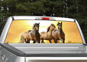 Horses Running Sunset Rear Window Decal Graphic For Truck Suv