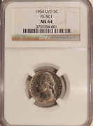 1954-d/d 5c Ngc Ms-64 Fs-501 Rare Jefferson Nickel Variety, Possible D/s Omm