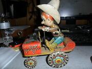 1930 Rodeo Joemade By Unique Art Crazy Car Wind Up Tin Litho Good Condition