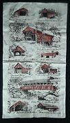 30x16 Burlap Tapestry Wall Hanging - 1800and039s New England Bridges