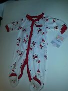 Infant Just For You Carters My First Christmas White Red 1 Piece Santa Feet Nb