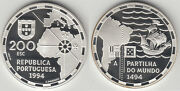 1994 Portugal Large Proof Silver 200 Esc Discovery-dividing The World/ship