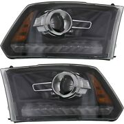 Headlight Set For 2013-2015 Ram 1500 Left And Right Black Housing With Bulb 2pc