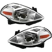 Headlights Headlamps Lights Lamps Lh And Rh Pair Set Of 2 For 07-12 Nissan Versa