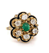 Original French Victorian 1.5ct Old Mine Diamond And Emerald Cabochon Ring 18k