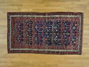 4and0399x8and0399 Antique Farsian Kirdish Bejar Hand Knotted Wide Runner Rug R26177