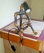 Robot Pipe Lamp Black And Brass Desk Lamp Dorm Room Made In Usa Fatherand039s Day