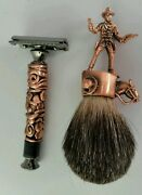 Menand039s Badger Brush And Double Edge Razor. Pewter With Copper Plate.