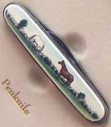 Pocket Knife Barlow Photo Reproduction In Color Thoroughbred Horse 515613c