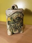 Signed Handmade American eagle pottery ceramic jar heavy tribal sculpture art