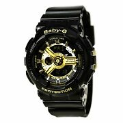 Casio Womenand039s Watch Baby-g Black And Gold Tone Dial Black Resin Strap Ba110-1a