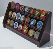 3 Tiers Challenge Coin Encapsulated Coin Display Stand Solid Wood Coin18-ma