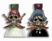 Hand Painted Pirate Buccaneer One-eyed Wine Bottle Cap 3 003p Set Of 2