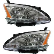 Headlights Headlamps Halogen Left And Right Pair Set For 13-15 Nissan Sentra