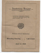 1928 Menu From The 20th Anniversary Of The Great Chelsea Massachusetts Fire
