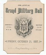 1887 Ornate Card From The 13th Annual Military Ball Waltham Mass Rifles