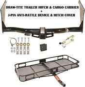 2013-2019 Ford Escape Trailer Hitch + Cargo Basket Carrier + Silent Pin Lock Tow