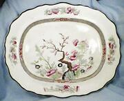 Antique Indian Tree Platter Burgess And Leigh Pottery Scalloped Serving Oval Huge