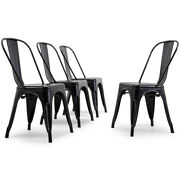 Antique Black Set Of 4 Metal Chairs Stackable Dining Room Chairs Indoor/outdoor