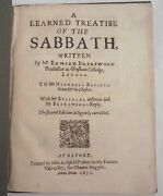 1630 Writtings A Learned Treatise Of The Sabbath By Edward Brerewood.