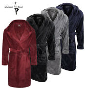 Michael Paul Mens Hooded Super Softandcosy Fleece Dressing Gown Robe Sizes M-5xl
