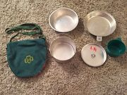 Vintage 1950's Girl Scout 5 Piece Mess Kit And Plaid Pouch W/ Shoulder Strap