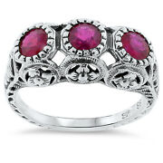 Genuine Ruby 3 Stone Antique Deco Style .925 Silver Filigree Ring Size 7,  158