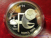 1992 Nepal Large Proof Silver 500 Rupee-world Cup Soccerfootball