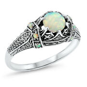 White Lab Opal Antique Victorian Design 925 Sterling Silver Ring Size 7,  643
