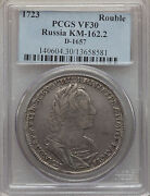 Rare 1723 Russia Peter The Great Large Silver 1 Rouble Pcgs Vf 30