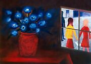 Charles Blackman Blue Bouquet And Window Signed Limited Edition Print 66 X 91