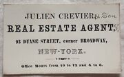 1860 Julien Crevier And Son Real Estate Business Card New York City Nyc 2x3.25