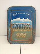 Vintage Evervess Sparkling Water Pepsi-cola Co Metal Tray Shabby But Chic