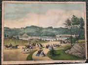 Currier And Ives Hand-colored Engraving Of Central Park Ny City 19th Century 1862