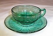 Jeannette Glass Doric And Pansy Pretty Polly Ultramarine Childand039s Cup And Saucer Set