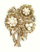 Monet - Vintage Flower Brooch With Pearls And Rhinestones - Signed - Circa 1940's