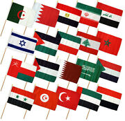 12x18 12x18 Set Of 20 Middle Eastern Countries Stick Flag Wood Staff