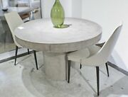 60 Round Dining Table Solid Concrete Modern Sealed Indoor Outdoor Gray Finish