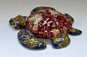 Crain Art Studio Ceramic Fired Hatchling Sea Turtle Burgundy, Blue, Gold