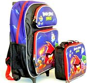 Angry Birds Space Large School Rolling Backpack 16 With Insulated Lunch Box