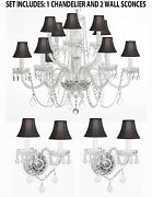 3pc Lighting Set-crystal Chandelier H27 W32 And 2 Wall Sconces W/ Black Shades