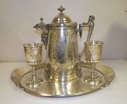 Antique 1872 Reed And Barton Silverplate Tray Tankard And Two Challis Cups Ivy Pat